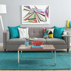 Top 15 Amazing Colorful Living Room Design And Decoration Ideas 16 Living Room Turquoise, Blue Living Room Decor, Best Living Room Design, Colourful Living Room, Living Room White, Living Room Paint, Living Room Colors, Living Room Grey, Decor Room