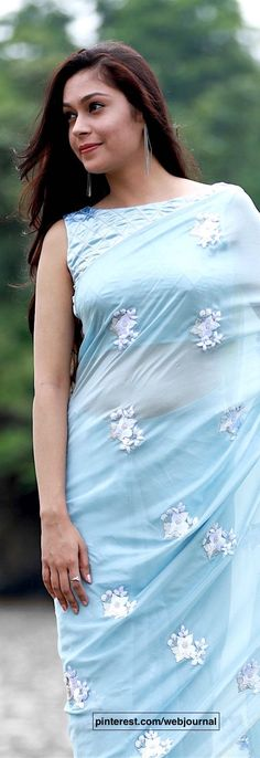 pure silk chiffon saree with ribbon work embroidery from eastandgrace.com