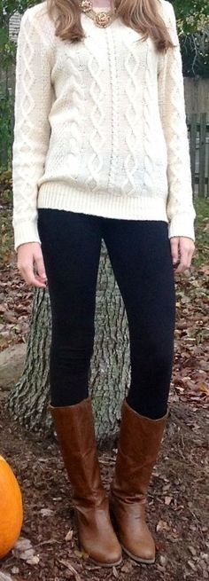 Cream cable knit sweater,skinny jeans and boots