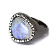 Rock Star Diamond Rainbow Moonstone Ring by Oliver Smith Jeweler. $1695