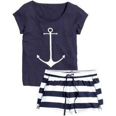 H&M Jersey pyjamas ($19) ❤ liked on Polyvore featuring intimates, sleepwear, pajamas, pijamas, dark blue, short sleeve pajamas and h&m