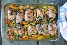 The Yellow House » Roasted chicken thighs with green peaches, ginger, & summer herbs