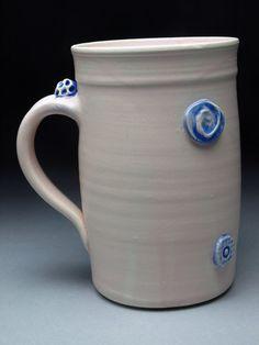 Pink Button Ceramic Coffee Mug Handmade coffee by rebeccalowery