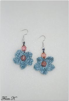 Hand crochet with a fine polyester thread, decorated with Czech glass bead crystals. They create a super cute accessory to add to any outfit! Very light weight. Crochet Flower, Hand Crochet, Dangle Earrings, Crochet Earrings, Crystal Beads, Crystals, Czech Glass Beads, Tatting, Dangles