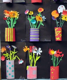DIY: Great project for teachers to do in art class, kids to do at home with parents or grandparents for Mother's day or any day! Cut paper relief sculptures in tin can planters. by carlani Spring Art Projects, School Art Projects, Spring Crafts, 3d Art Projects, Sculpture Projects, Kids Crafts, Arts And Crafts, Classe D'art, 3rd Grade Art
