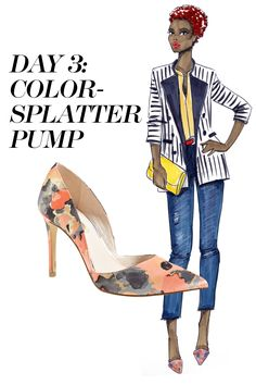 Mix-and-match a pinstriped blazer and bright-color blouse with dark denim and a pair of multicolor pumps. Shop the pumps trend at Nordstrom.com   - MarieClaire.com