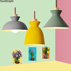 Tanie: Nowoczesne Drewniane Lampy Wiszące Lamparas Kolorowe