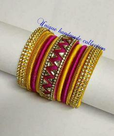 Silk Thread Bangles Design, Silk Thread Necklace, Silk Bangles, Bridal Bangles, Thread Jewellery, Paper Quilling Earrings, Bangles Making, Oxidised Jewellery, Handmade Jewelry Designs