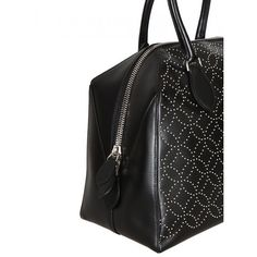 Azzedine Alaïa Black Studded Leather Tote (6.965 RON) ❤ liked on Polyvore featuring bags, handbags, tote bags, tote bag purse, leather purse, genuine leather tote, real leather tote and leather handbags
