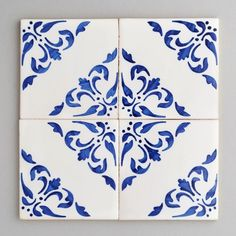 Coimbra - handpainted, handmade patterned blue and white tiles. Portuguese tiles for bathrooms and kitchens from Everett and Blue White Tile Backsplash, Wall Tiles, Cement Tiles, Backsplash Ideas, Stone Tiles, Tile Art, Mosaic Tiles, Blue Tiles, White Tiles