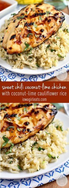 Sweet Chili Coconut-Lime Grilled Chicken with Coconut-Lime Cauliflower Rice is a light and refreshing grilled dinner. Simple and scrumptious! #glutenfree | http://iowagirleats.com