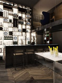 Hotel Design : Conservatorium Hotel by Architect Piero Lissoni - love the thought of the whole wall being used for the bar.