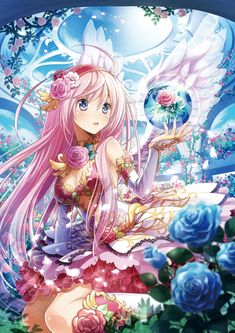 ✮Luka with fairy angel wings magical dress pink hair and roses