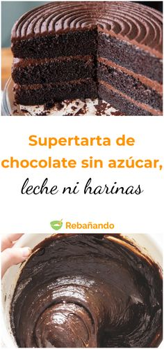 Chocolate superstar without sugar, milk or flour cake c Low Calorie Desserts, No Bake Desserts, Healthy Desserts, I Love Chocolate, Chocolate Ganache, Easy Chocolate Chip Cookies, Deli Food, Sin Gluten, Dessert Table