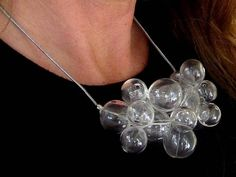 Glamorous Glass by Petra Glasova: Share my fascination with dreamy bubble glass jewellery. Clear glass bubble jewellery set containing a necklace, a bracelet and earrings. Glass Jewelry, Jewellery, Unique Jewelry, Petra, Fascinator, Clear Glass, Pearl Necklace, Bubbles, Glamour