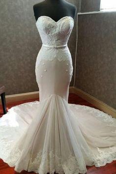 Elegant ivory lace tulle sweetheart mermaid dress,floor-length Wedding dresses