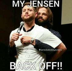 Supernatural Baby, Jared Padalecki Supernatural, Jensen Ackles Jared Padalecki, Jensen And Misha, Supernatural Seasons, Winchester Boys, Bff Goals, Back Off, Destiel