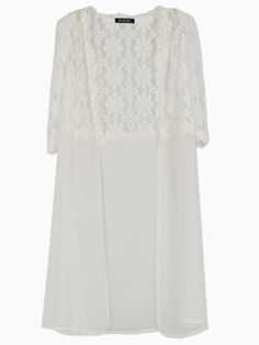 White Crocheted Lace Open Front Coat
