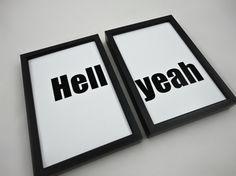 Typography Set of Two Art Prints Hell Yeah by SacredandProfane, $12.50
