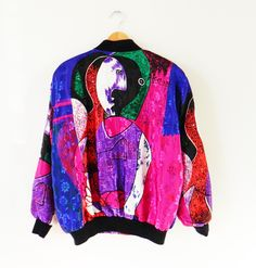 Crazy Vintage Picasso Bomber Jacket / Rad Vintage Art Nouveau Windbreaker / 80s Abstract Geometric Bomber Jacket by thehappyforest on Etsy