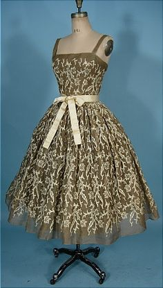 1955 RARE TRAINA-NORELL, New York Organdy  and Embroidered Party Dress with Original Petticoat Underpinning