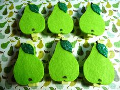 Green Felt Pears on Mini Clothes pegs  set of 6 by niknaxbyArlana, $2.50