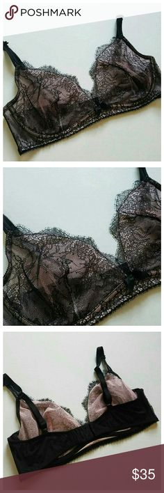 NWOT Very Sexy Unlined Plunge Lace Bra New without tags condition sexy lace plunge bra by victorias secret. Unlined plunge style. 36 D true to size bra. Beautiful black lace has a delicate blush pink backing. Intricate detailing is seen throughout every inch of this bra. No rips. No stains. No snags. Victoria's Secret Intimates & Sleepwear Bras