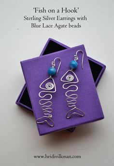 Fish wire earrings  Blue Lace Agate  Wire wrapped