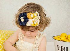 Navy Mustard Headband M2M Persnickety Sail Away Vintage Inspired Ivory Infant Newborn Lace Rhinestone Ballerina Flower Photo Prop
