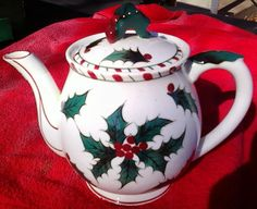 Vintage Christmas Lefton Holly Candy Cane Pattern Tea Pot