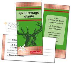 Einladung zum Geburtstag Hirsch Postkarte