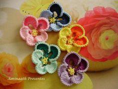 Crochê - Flor Amor Perfeito em Crochê - / Crochet - Flower Perfect Love Crochet…