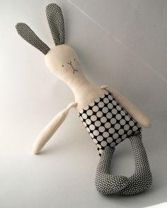 rag doll toy modern rabbit fabric bunny plushie boy by rosieok