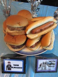 Han Burgers and Hoth Dogs for Star Wars birthday party! Too cute.