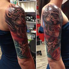 Skull, flower, woman, Tattoo realistic, color, tattoo on arm