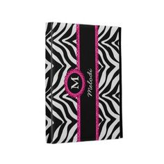 Zebra Print and Pink Lace Monogram Name iPad Cases