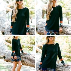 Free Spirit Tunic/Dress - Charcoal knit tunic/dress with bright color Aztec print at cuffs and hemline.  Warm and cozy for all occasions.  Available: S-M-L - $44