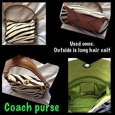 Auth long hair calf Coach purse Only used once. Gorgeous purse. accepting offers! Brown and white calf hair coach purse with green interior. HARD TO FIND! Coach Bags