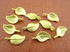 10 pc Mini Leaf Charms, Matte 22K Gold Plated Brass Turkish Jewelry