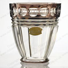 VINTAGE c.1930s-40s VAL ST. LAMBERT CRYSTAL VASE WITH BROWN OVERLAY RIM. Price: £325.00. For more information about this item click here: http://www.richardhoppe.co.uk/item.php?id=3256 or email us here: rhshopinformation@gmail.com