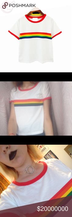 •COMING SOON• Rainbow Striped Top• Clothing Length:Regular Sleeve Style: Regular Fabric Type: Broadcloth Material: Cotton,Polyester Collar: O-Neck Sleeve Length: Short The Trendy Kitten Tops