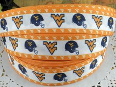 """7//8/"""" WEST VIRGINIA MOUNTAINEERS GROSGRAIN RIBBON BY THE YARD USA SELLER"""