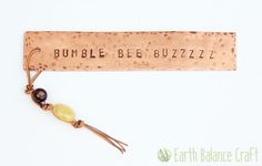 Bumble Bee Bookmark - A weathered copper bookmark with a delicate droplet of leather, honey quartz and agate stones, for traditional book lovers.