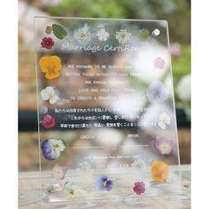 無印のアクリルボード×押し花を使った結婚証明書の作り方   marry[マリー]