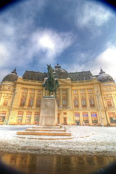 Bucuresti, Romania - National Bibliothec + Statue of King Carol I. Places To Travel, Places To See, Capital Of Romania, Beautiful Castles, Beautiful Scenery, Little Paris, Bucharest Romania, Medieval Town, Eastern Europe