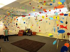 Calder Mobiles - great way to decorate the halls for Open House
