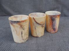 3 Stunning 1930s BANDALASTA WARE Marbled Drinking CUPS...Original Brookes & Adams...Vintage Art Deco Early Plastic Beaker Tumbler Cup! by SlimandSugar on Etsy