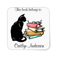 Personalized Cat and Books  Bookplate Sticker