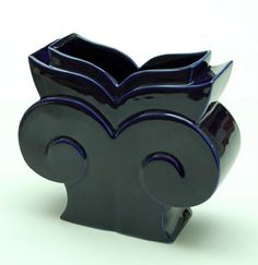 Blue glazed porcelain vase design Michael Graves 1989 executed by Limoges / France for Swid Powell / USA