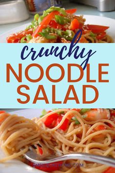 This Crunchy Noodle Salad is the perfect weeknight dinner with savory dressing and crunchy vegetables. It's easy to make and is also a great dish to take to a potluck or party. Spicy Dishes, Savoury Dishes, Quick Weeknight Dinners, Easy Dinners, Easy Pasta Recipes, Noodle Recipes, Crunchy Noodle Salad, Best Vegetarian Dishes, Loaded Mashed Potatoes